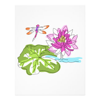 Watercolor Water Lily Letterhead