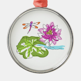 Watercolor Water Lily Metal Ornament
