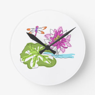 Watercolor Water Lily Round Clock