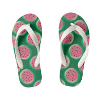Watercolor Watermelon Circles Green Pink Summer Kid's Flip Flops