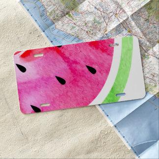 Watercolor Watermelon License Plate