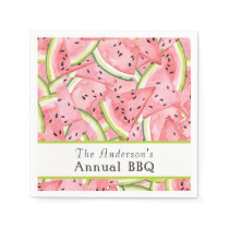Watercolor Watermelon Pattern with Custom Text Paper Napkin