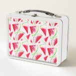 "Watercolor Watermelon Slice Pattern Metal Lunch Box<br><div class=""desc"">You will be one of the most delicious and juicy pioneers of summer with this unique and special design consisting of watercolor watermelon slices. The soft tones of pink and red will bring summer taste to your home decoration as well as your clothes.</div>"