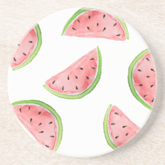 watercolor watermelon slices sandstone coaster