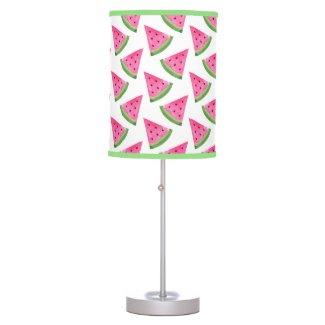 Watercolor Watermelon Wedge Pattern Table Lamp