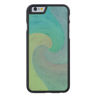 Watercolor Wave Green Turquoise Aquamarine Art Carved Maple iPhone 6 Case
