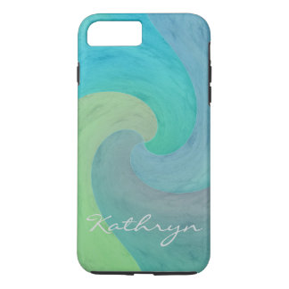 Watercolor Wave Turquoise Green Personalized Art iPhone 7 Plus Case