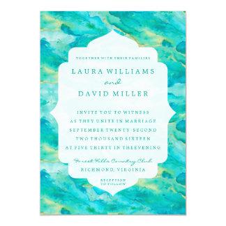 Watercolor Waves Beach Wedding Invitation