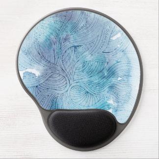 Watercolor waves ocean blue purple painted gel mouse pad