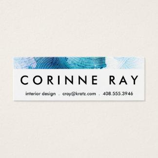 Watercolor waves ocean blue purple painted mini business card