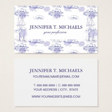 Beach Themed Watercolor Waves & Ships Pattern Business Card