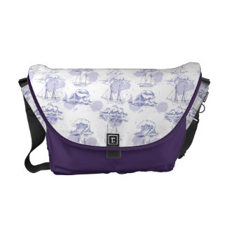 Watercolor Waves & Ships Pattern Messenger Bag