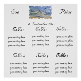Watercolor waves -WEDDING SEATING SHART Poster