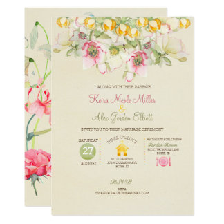 Watercolor Wedding All in One Pink Green Yellow Card