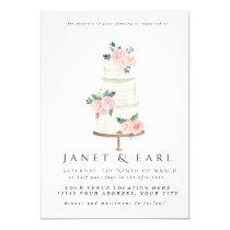 Watercolor Wedding Cake Floral Wedding Invitations