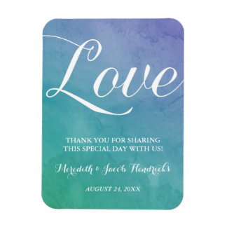Watercolor Wedding Favor Rectangle Magnets