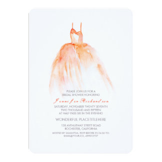 Watercolor Wedding Gown Bridal Shower Invitations