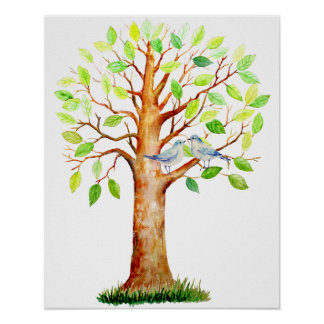 Watercolor Wedding Guest Signing Tree Poster