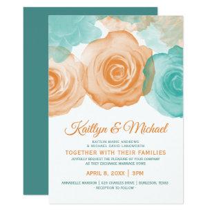 Watercolor Wedding Invitation Orange Teal