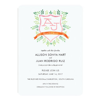 Watercolor Wedding Invitation with Crest Monogram