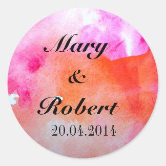 Watercolor Wedding Print Classic Round Sticker