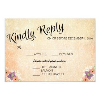 Watercolor Wedding Response Card With Menu Choice