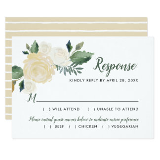 Watercolor Wedding Response Cards   Neutral Blooms