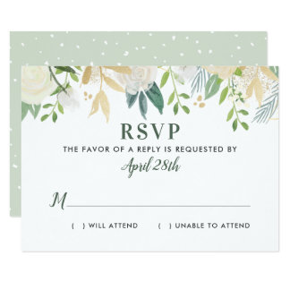 Watercolor Wedding RSVP Cards   Neutral Blooms