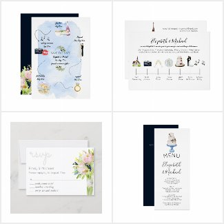 Watercolor Wedding Timeline Collection
