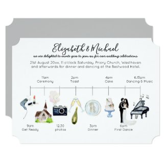 Watercolor Wedding Timeline Icon Program Template
