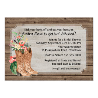 Watercolor Western Boots Bridal Shower 5x7 Paper Invitation Card
