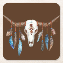 Watercolor Western Skull with Feathers Square Paper Coaster