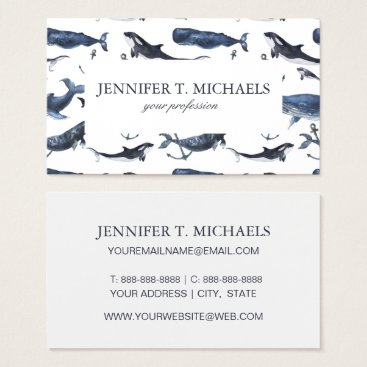 Beach Themed Watercolor Whale & Anchor Pattern Business Card