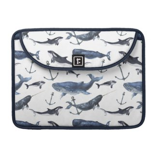 Watercolor Whale & Anchor Pattern MacBook Pro Sleeve