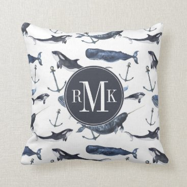 Beach Themed Watercolor Whale & Anchor Pattern Throw Pillow
