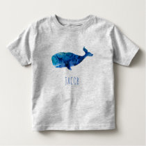 Watercolor Whale Marine Kids Personalized Toddler T-shirt