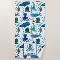 Watercolor Whale Octopus Pattern Kids Nautical Beach Towel