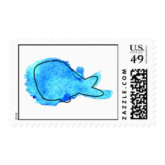 Watercolor Whale Stamp