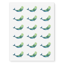 Watercolor Whale Temporary Tattoo