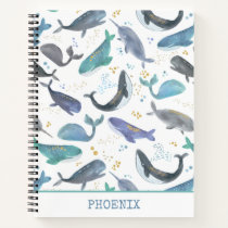 Watercolor Whales Ocean Animals Narwhals Kids Notebook
