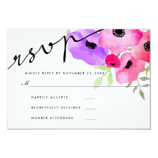 Watercolor Whimsical Floral Wedding RSVP Script Card