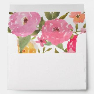 Watercolor Whimsical Flowers Wedding Envelope