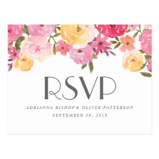 Watercolor Whimsical Flowers Wedding RSVP Postcard