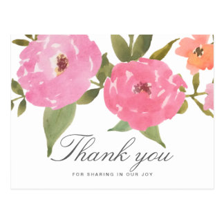 Watercolor Whimsical Flowers Wedding Thank You Postcard