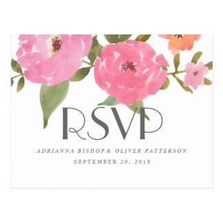 Watercolor Whimsical Pink Flowers Wedding RSVP Postcard
