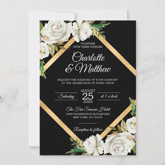 Watercolor White Black Gold Floral Wedding Invitation