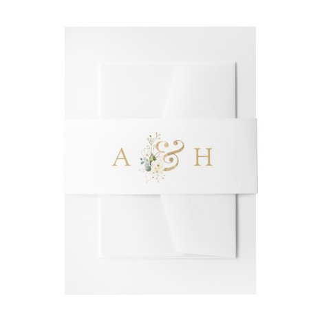 Watercolor White Floral Modern Monogram Wedding Invitation Belly Band