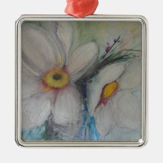 Watercolor White Flower Metal Ornament