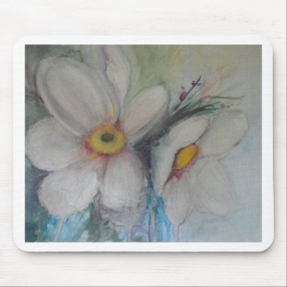 Watercolor White Flower Mouse Pad