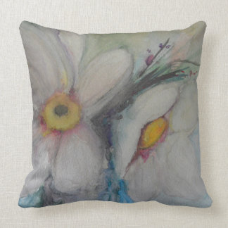 Watercolor White Flower Throw Pillow